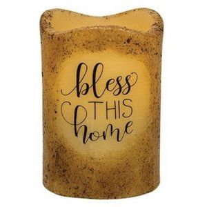 Bless this Home Pillar Candle - Battery Powered
